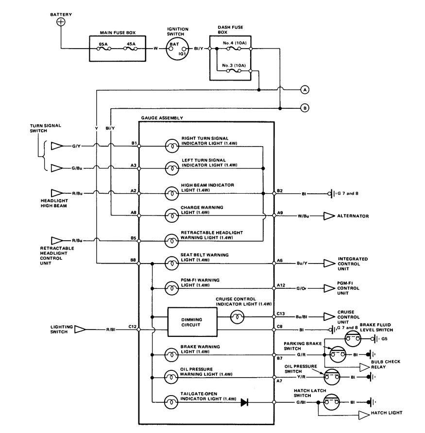 Acura Integra  1986 - 1987  - Wiring Diagrams - Instrumentation