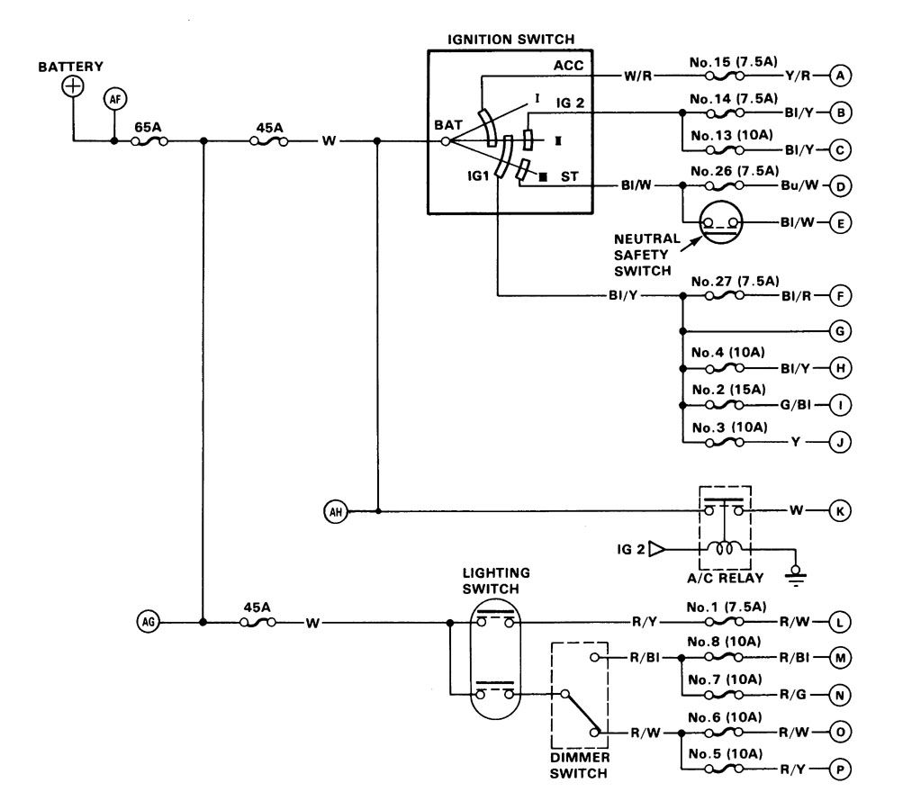 Acura Integra  1986  - Wiring Diagrams - Power Distribution