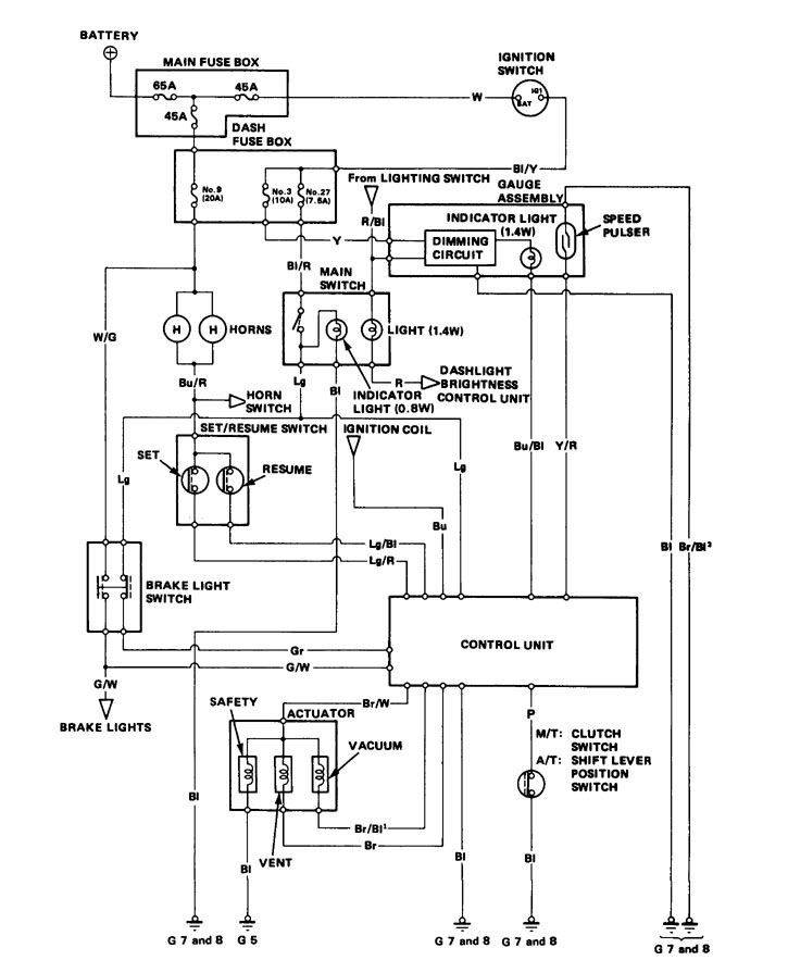 Acura Integra  1986 - 1987  - Wiring Diagrams - Speed Control