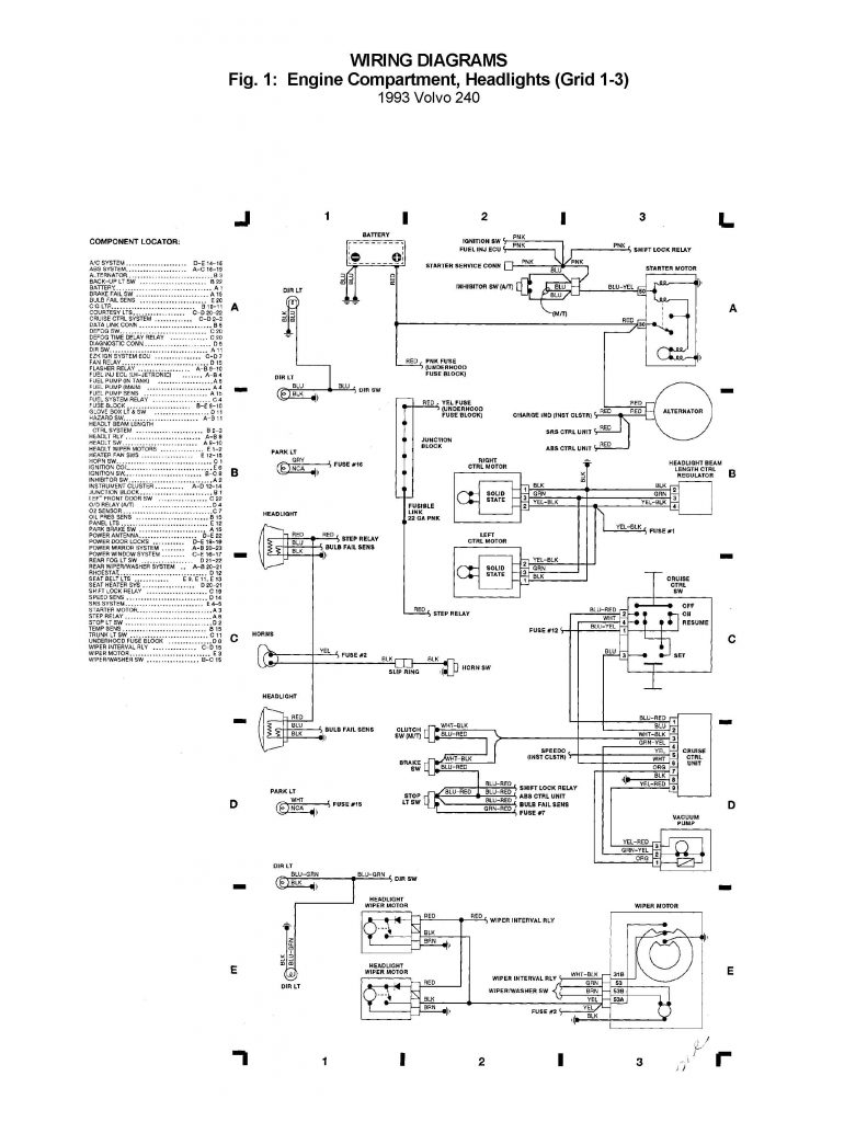 Volvo 240  1993      wiring    diagrams  engine partment
