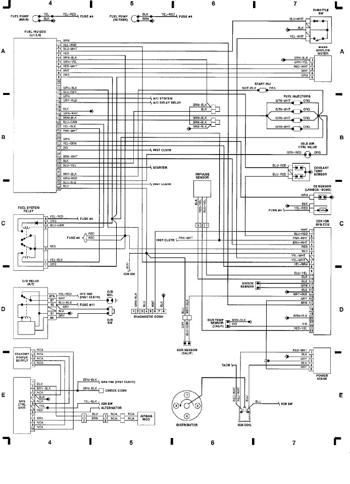 Volvo 240 (1991) - wiring diagrams - computer engine ctrl (LH 2.4), SRS -  Carknowledge.info | Volvo Lh2 4 Wiring Diagram |  | Carknowledge.info