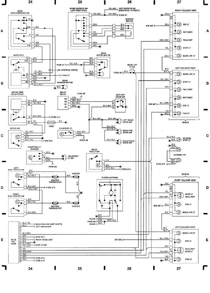 volvo 240  1991  - wiring diagrams