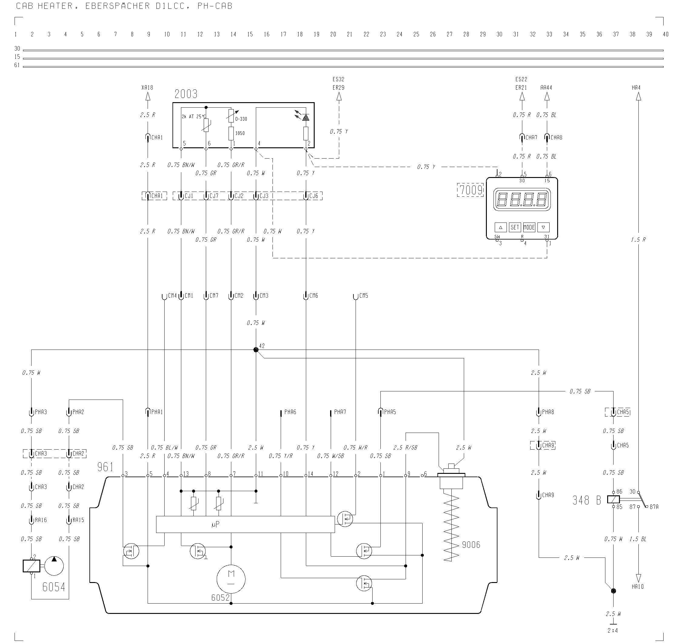 Volvo F12, F16 - wiring diagram - cab heater, eberspacher dilcc, PH ...