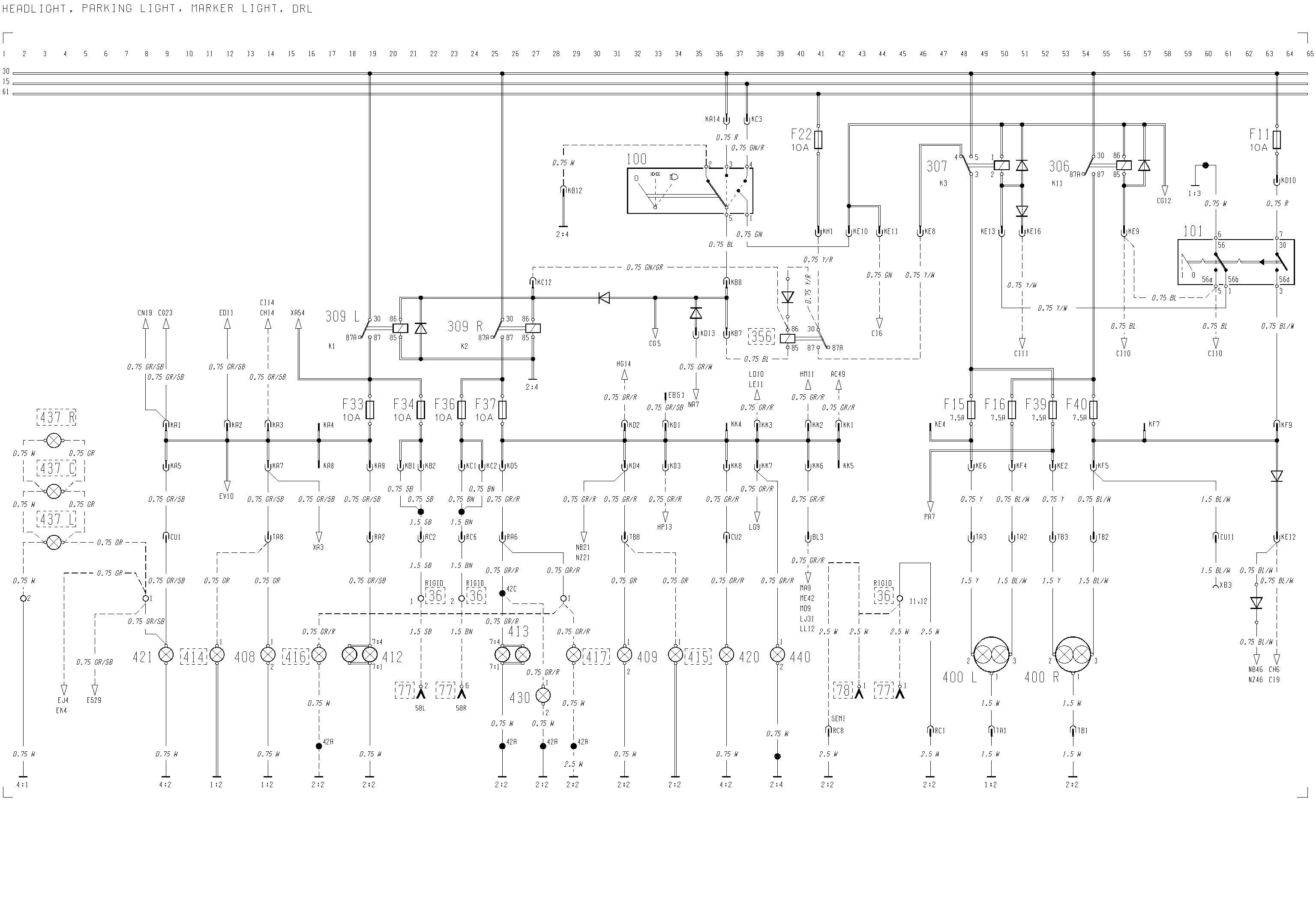 Volvo F12, F16 - wiring diagram - headlight, parking light ... on volvo headlight switch, volvo headlight assembly diagram, volvo s40 parts diagram, volvo alternator wiring diagram,