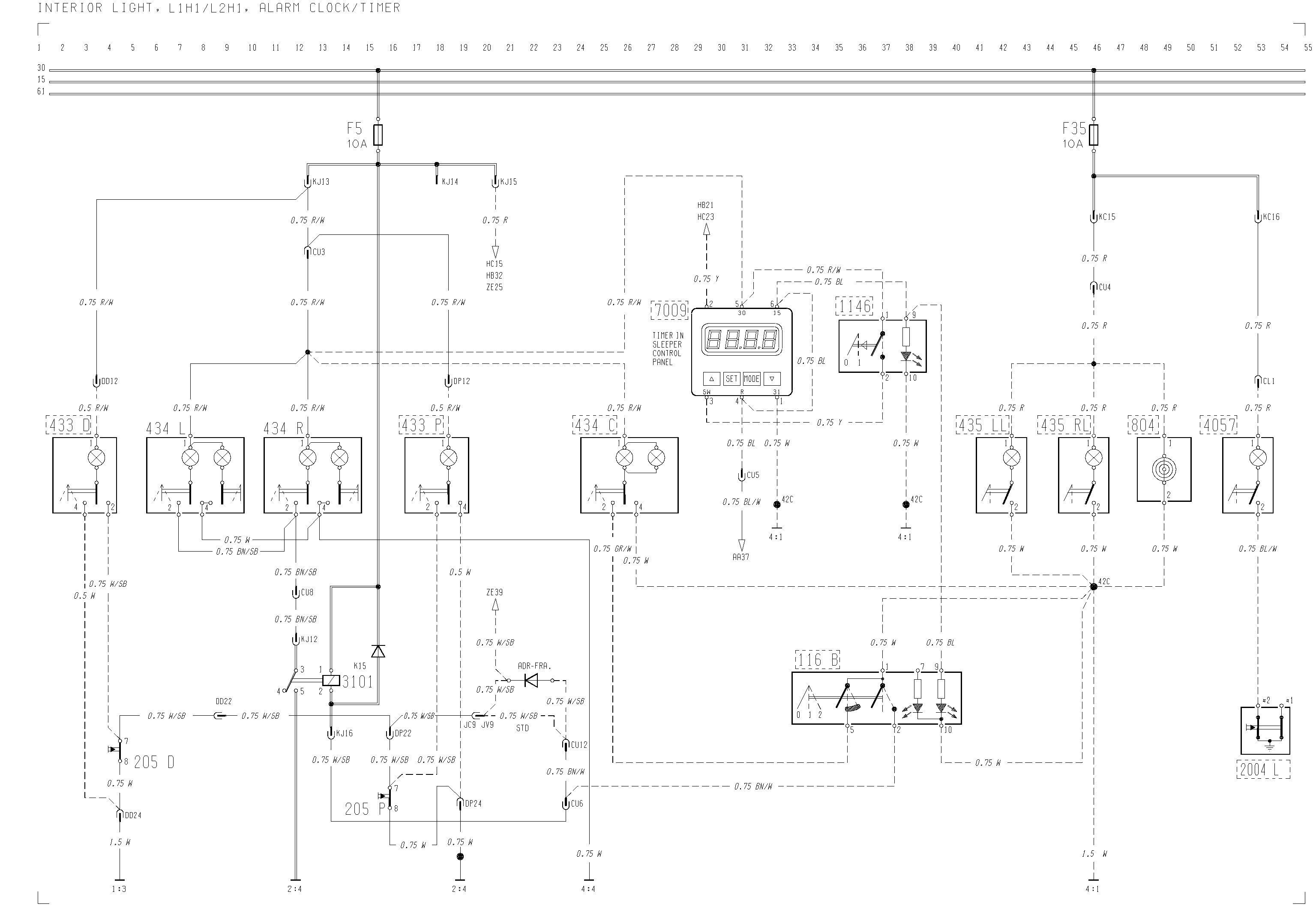 Volvo F12, F16 - wiring diagram -interior light, L1H1/L2H1 ... on