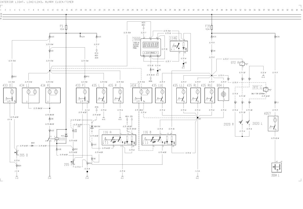 Volvo F12  F16 - Wiring Diagram -interior Light  L2h2  L2h3  Alarm Clock  Timer