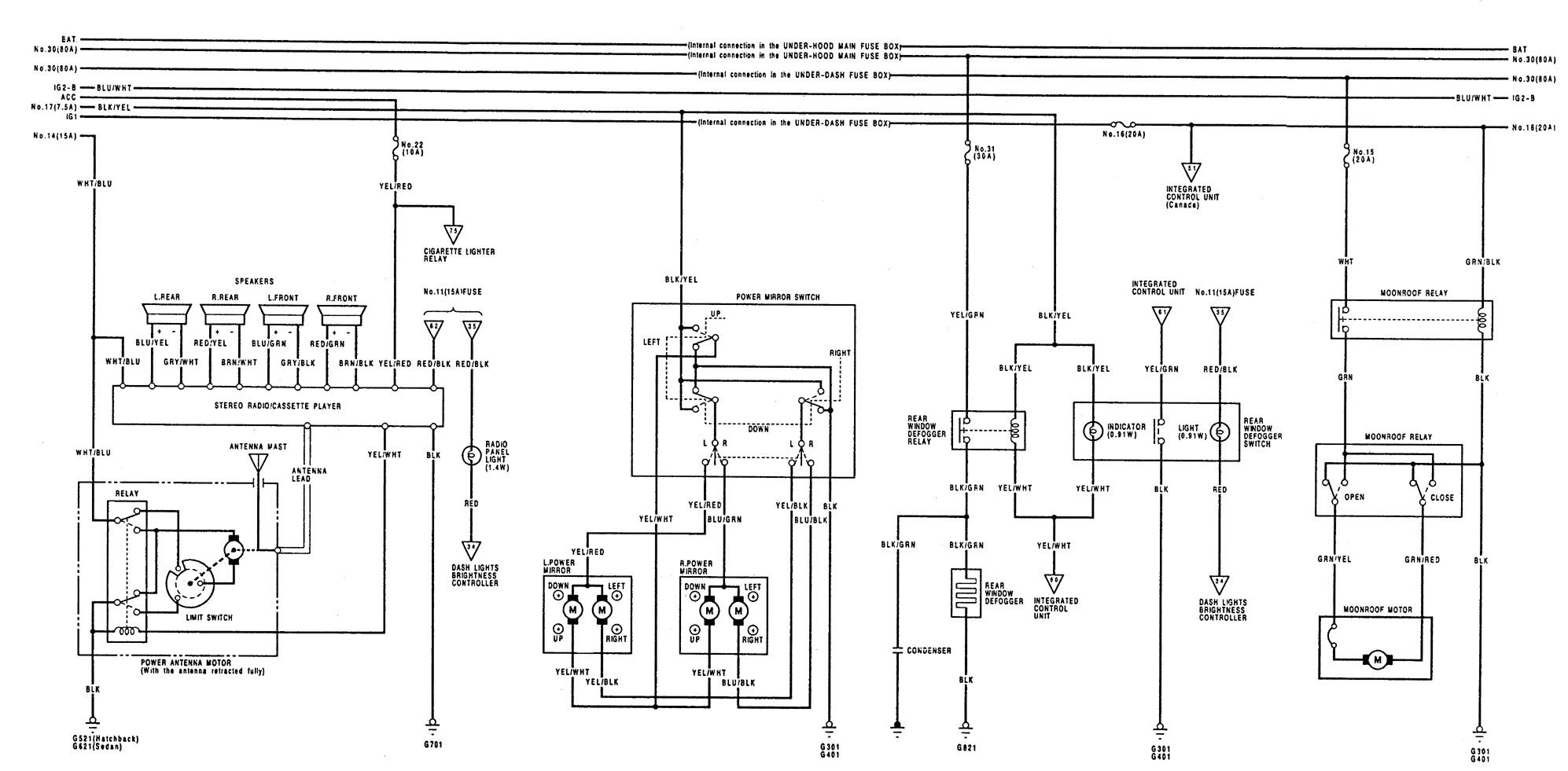 Acura Integra  1992 - 1993  - Wiring Diagrams
