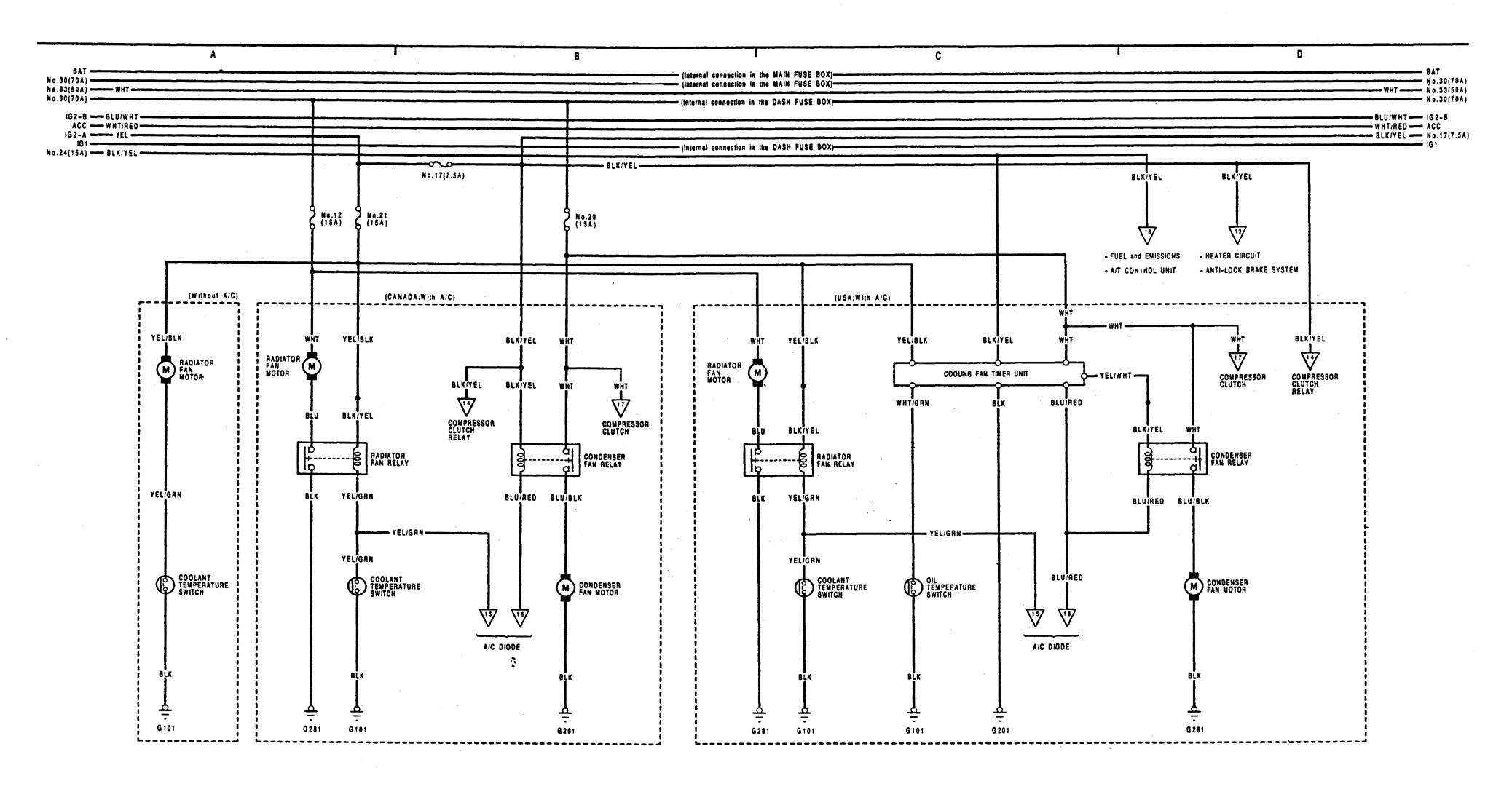 91 240sx fuse box wiring diagram acura integra  1991 1992  wiring diagrams cooling fans  acura integra  1991 1992  wiring