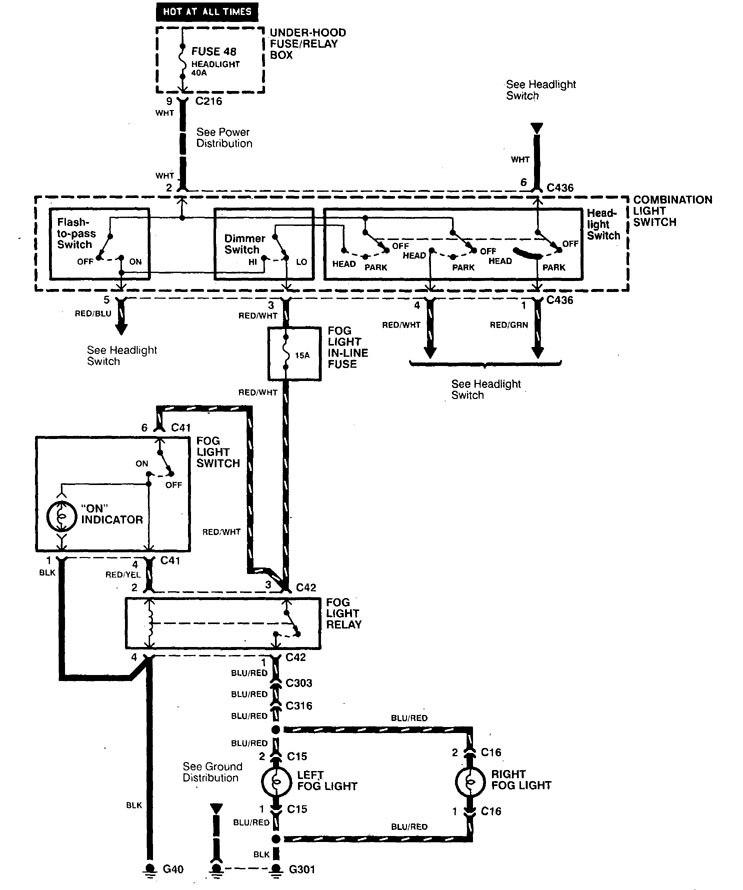 acura integra (1998 - 2001) - wiring diagrams - fog lamp ... acura integra wiring diagram radio #14