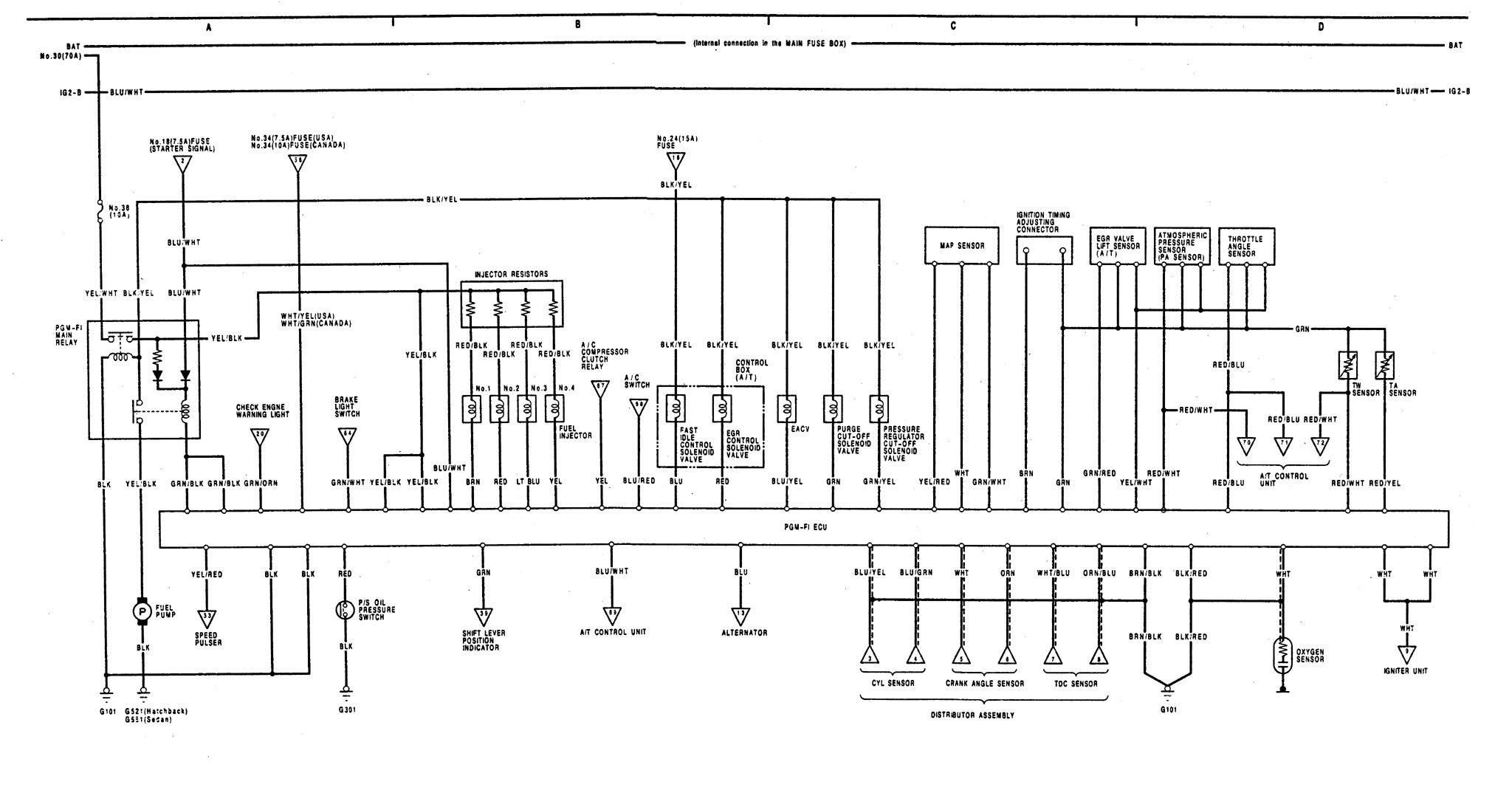 Acura Integra  1991  - Wiring Diagrams - Fuel Control