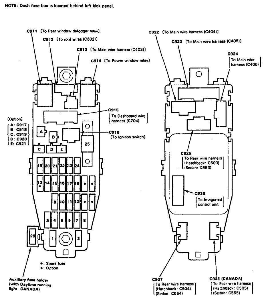 Acura Integra (1991 - 1993) - wiring diagrams - fuse block ... on