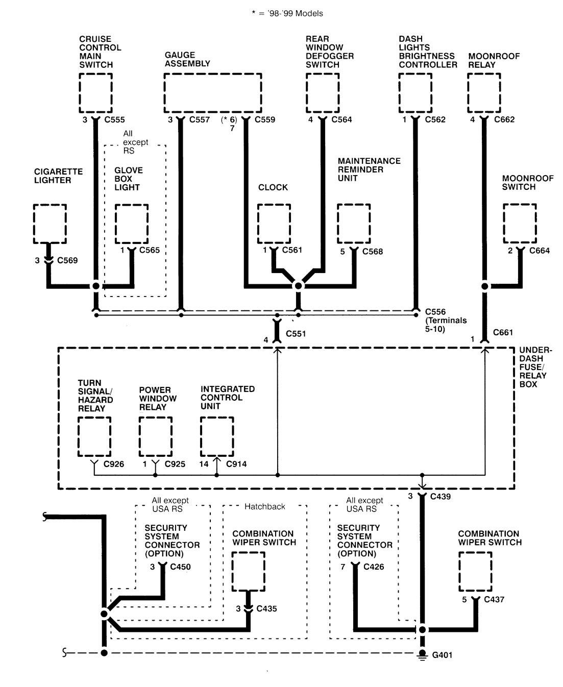 Acura Integra 1998 2001 Wiring Diagrams Ground Distribution 98 Diagram Part 6