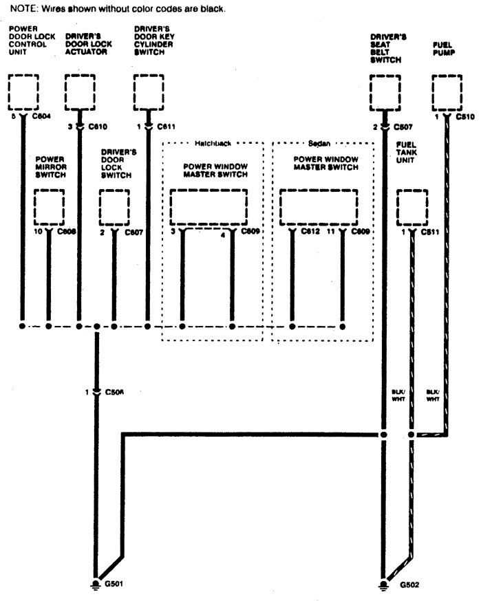 Acura Integra 1996 wiring diagrams ground distribution