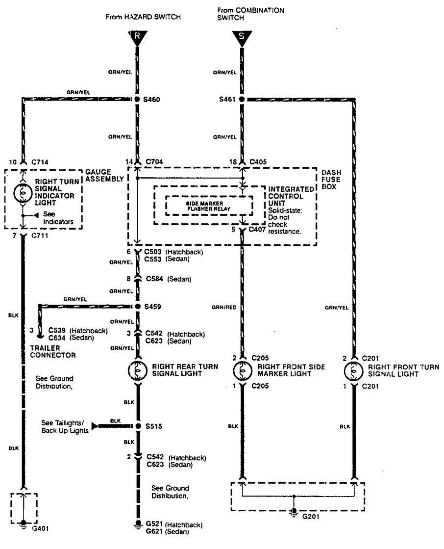 Acura Integra  1990  - Wiring Diagrams - Hazard Lamp