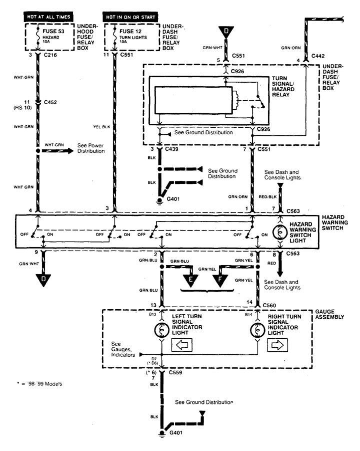Acura Integra (1998 - 2001) - wiring diagrams - hazard lamp -  Carknowledge.info | Bmw Hazard Wiring Diagram 1998 |  | Carknowledge.info