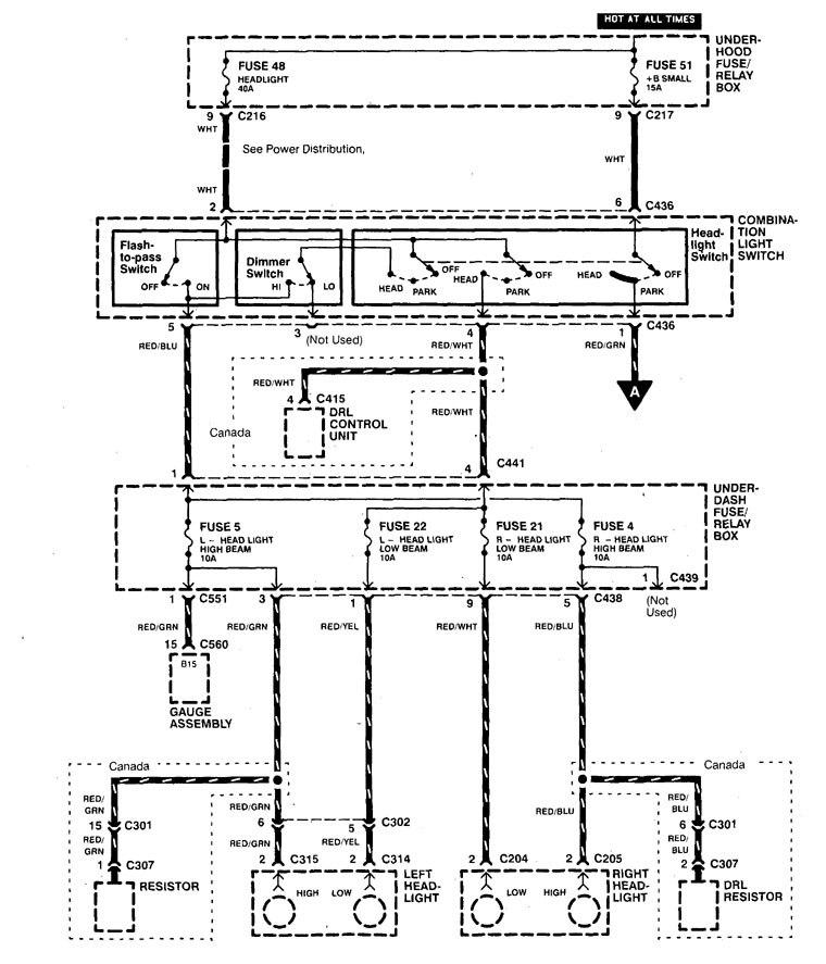 Acura Integra Wiring Diagram : Acura integra  wiring diagrams headlamp