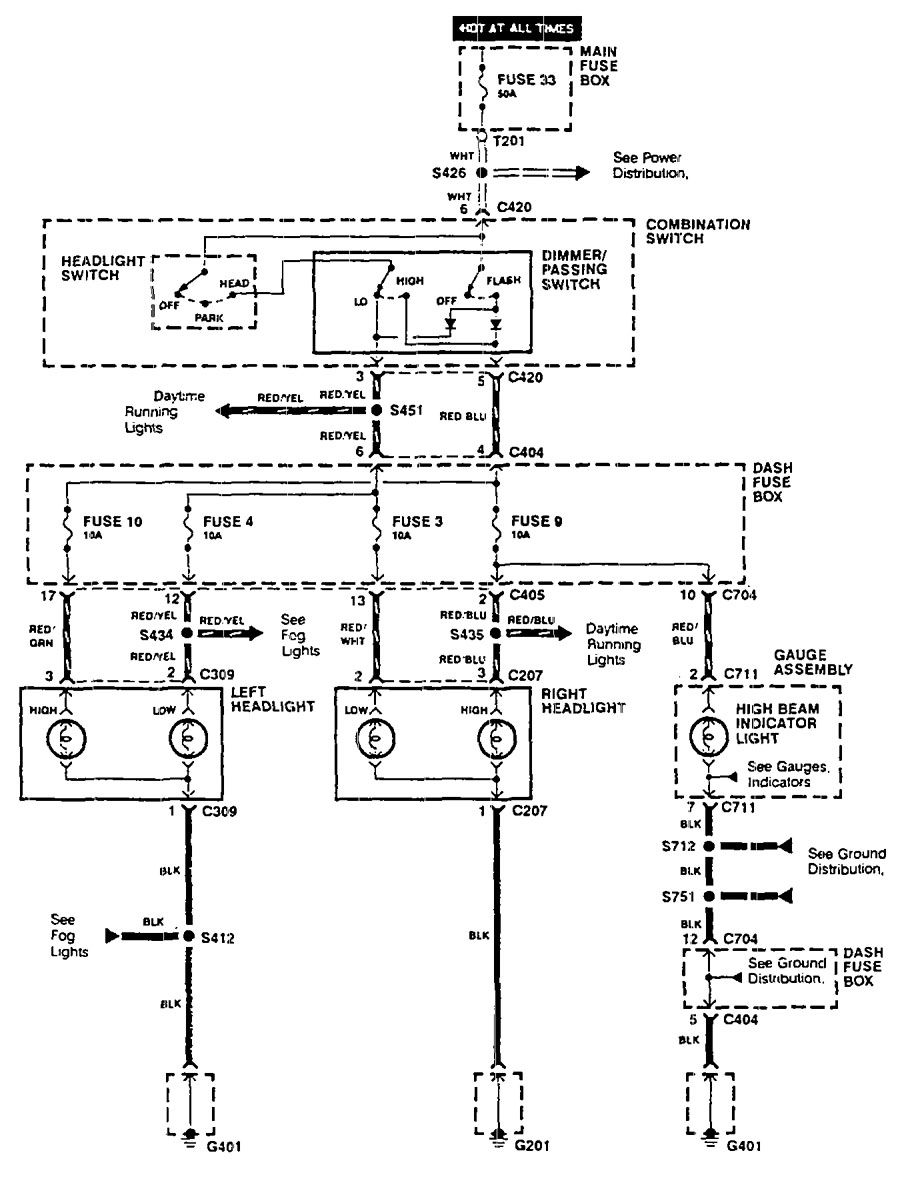 Acura Integra  1990  - Wiring Diagrams - Headlamps