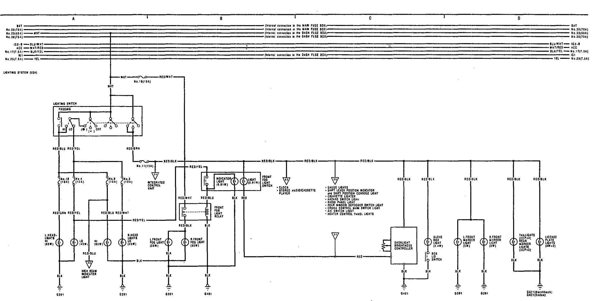 Wiring Diagram For 1991 Acura Integra Data Diagrams 1990 Headlamps 1995 Headlight