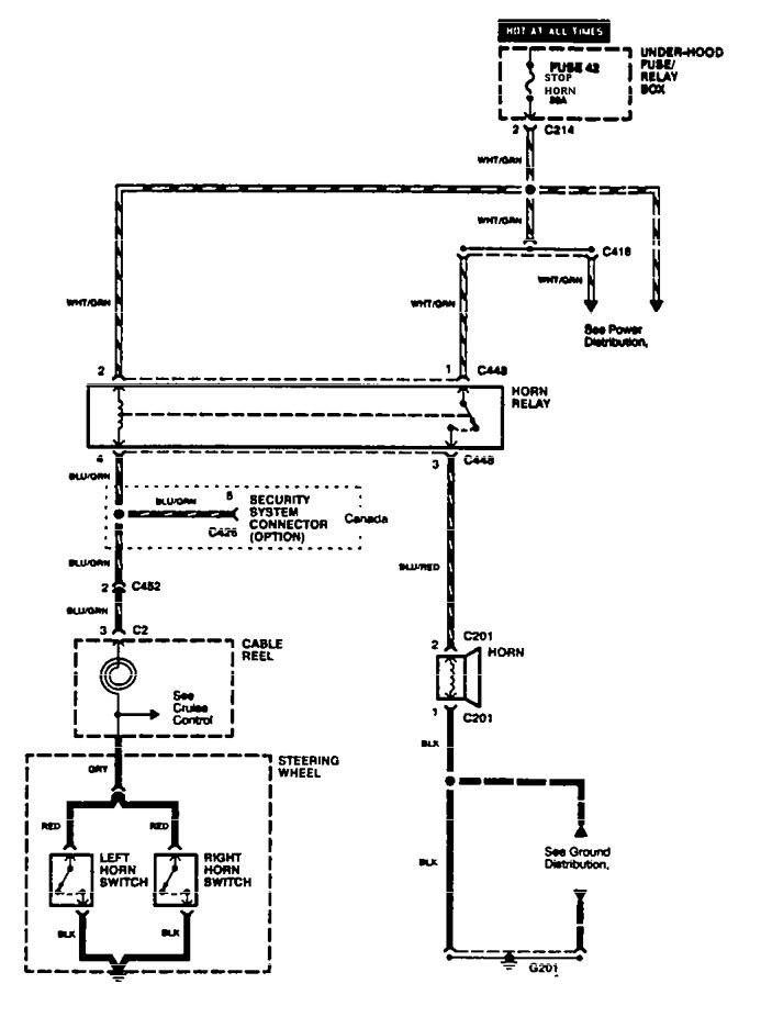Acura Integra (1996 - 1997) - wiring diagrams - horn - Carknowledge.info   Acura Integra Horn Wiring Diagram      Carknowledge.info