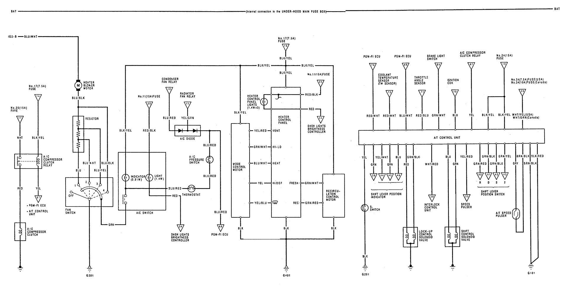 1992 Acura Integra Headlight Wiring Diagram All Kind Of 1990 Fuse Box 1993 Diagrams Hvac Control Carknowledge Heater Gsr Head