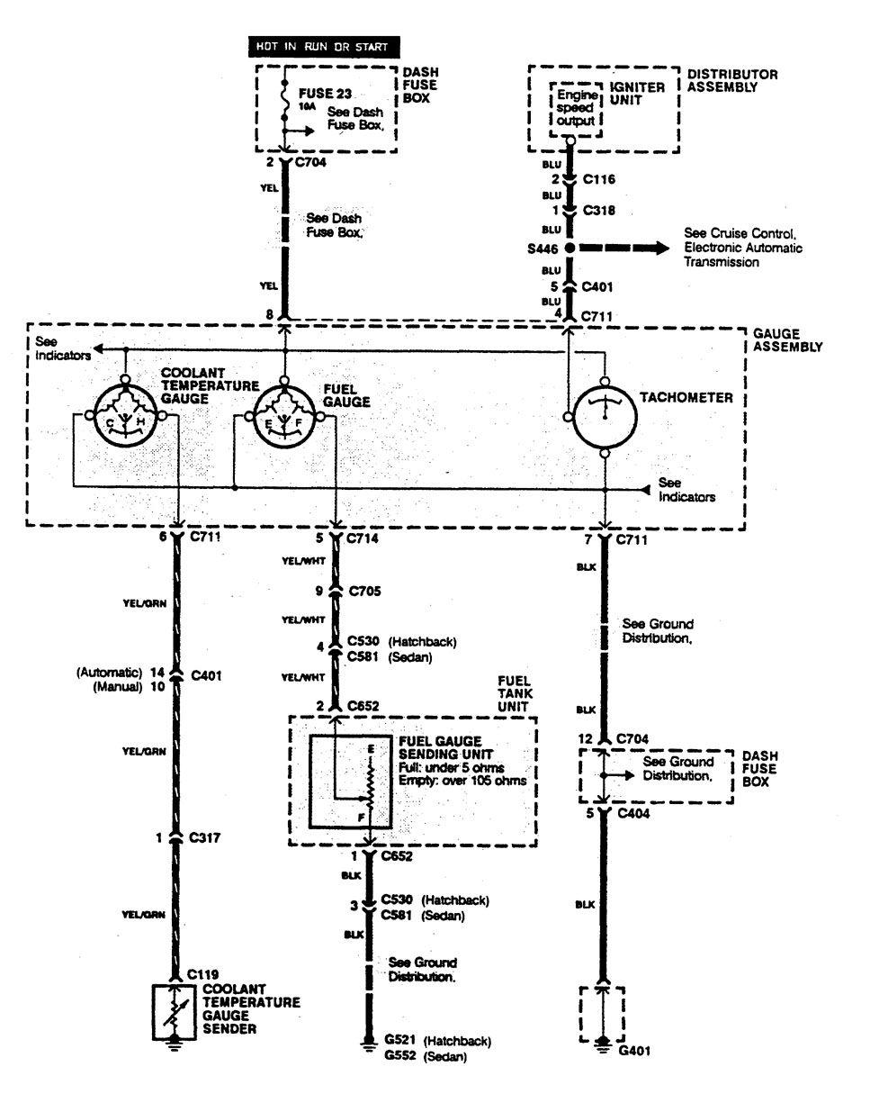 acura integra (1990) - wiring diagrams - instrumentation ... 1990 integra wiring diagram
