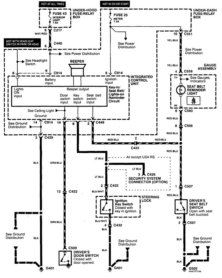Acura Integra (1998 - 2001) - wiring diagrams - key warning -  Carknowledge.info | 1998 Acura Wiring Diagram |  | Carknowledge.info