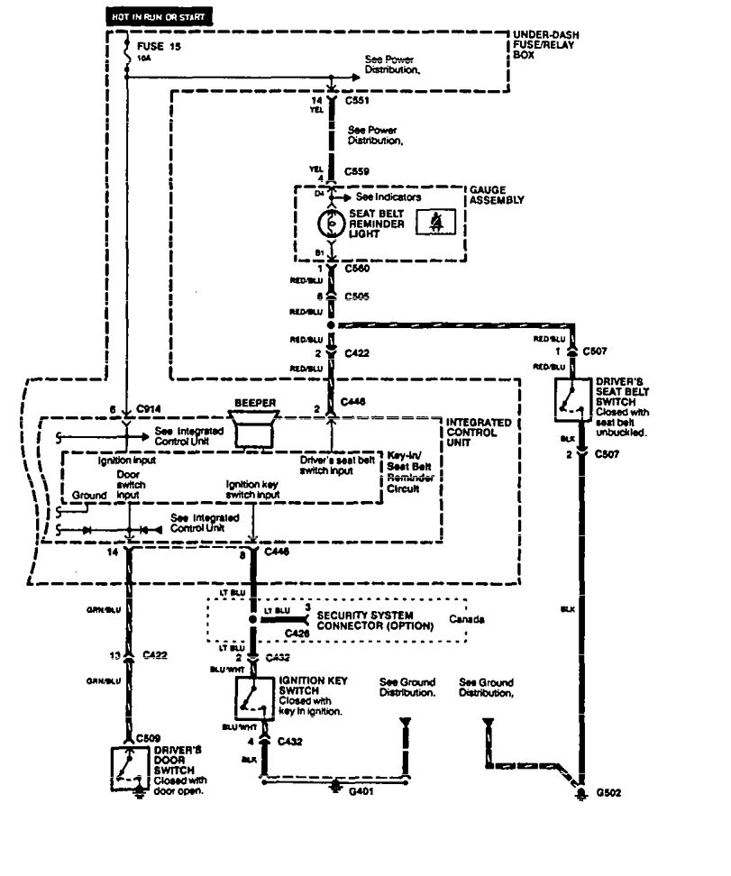 Acura Integra (1994) - wiring diagrams - key warning - Carknowledge.info | Acura Integra Ignition Switch Wiring Diagram |  | Carknowledge.info