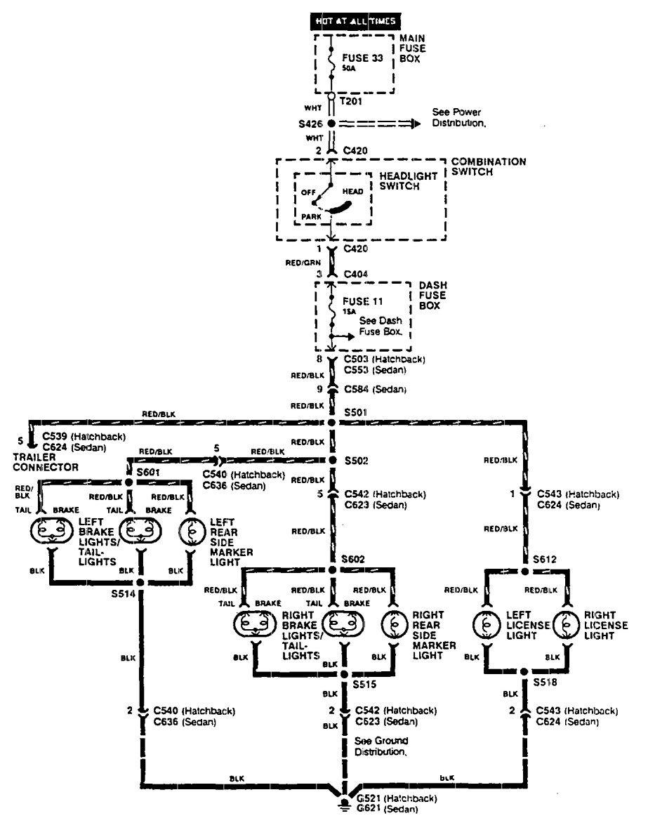 Acura Integra 1990 Wiring Diagrams License Plate Lamp Light Diagram