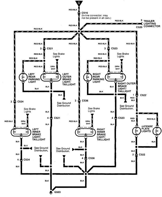 acura integra - wiring diagram - parking lamp