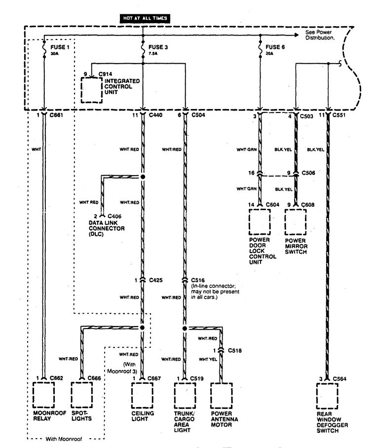 acura integra (1995) wiring diagrams power distribution 1995 acura integra alarm wiring diagram 1995 acura integra wiring diagram #11