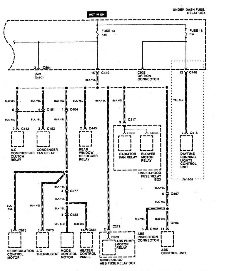 Acura Integra  1995  - Wiring Diagrams - Power Distribution