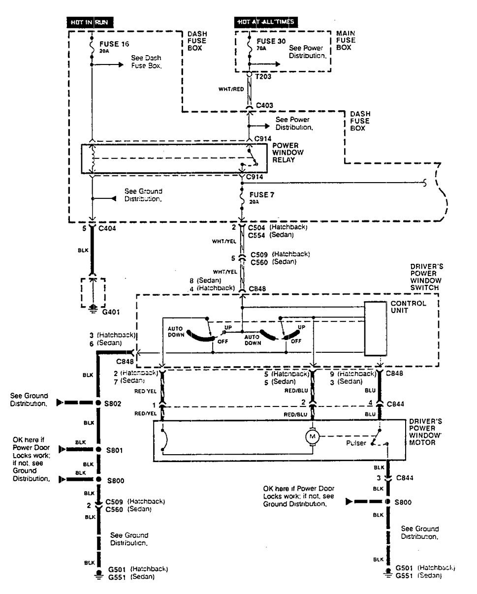 acura integra (1990) - wiring diagrams - power windows ... 1990 integra fuse diagram  carknowledge.info