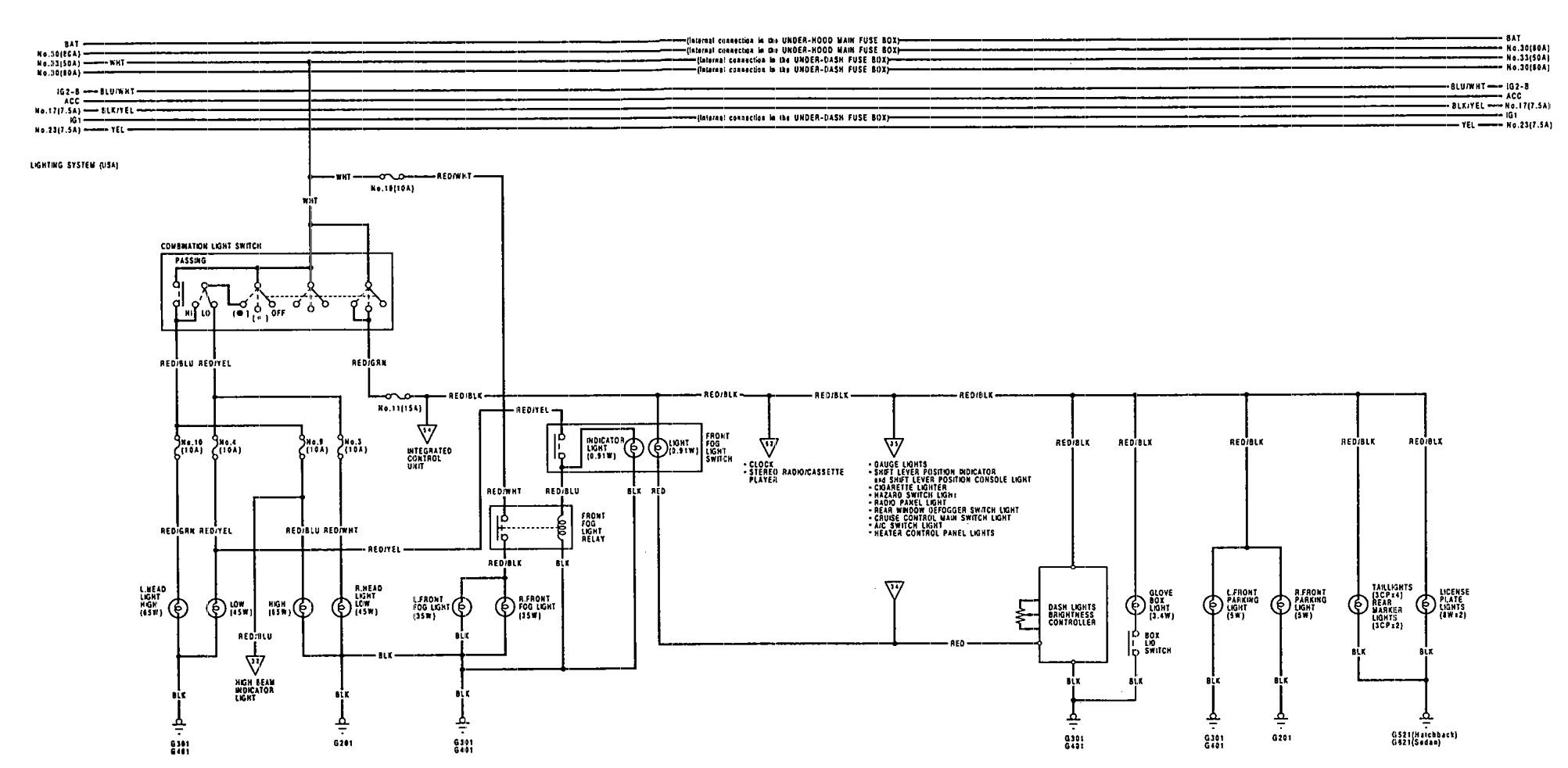 Acura Integra (1992) - wiring diagrams - reverse lamp - Carknowledge.infoCarknowledge.info