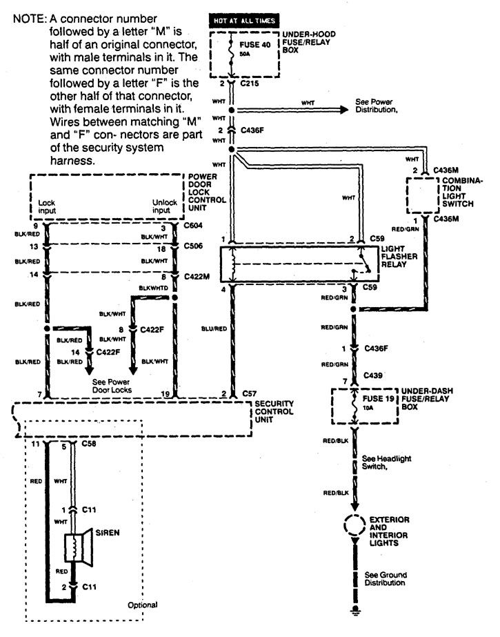 Integra Alarm Wiring Diagram : Acura integra  wiring diagrams security