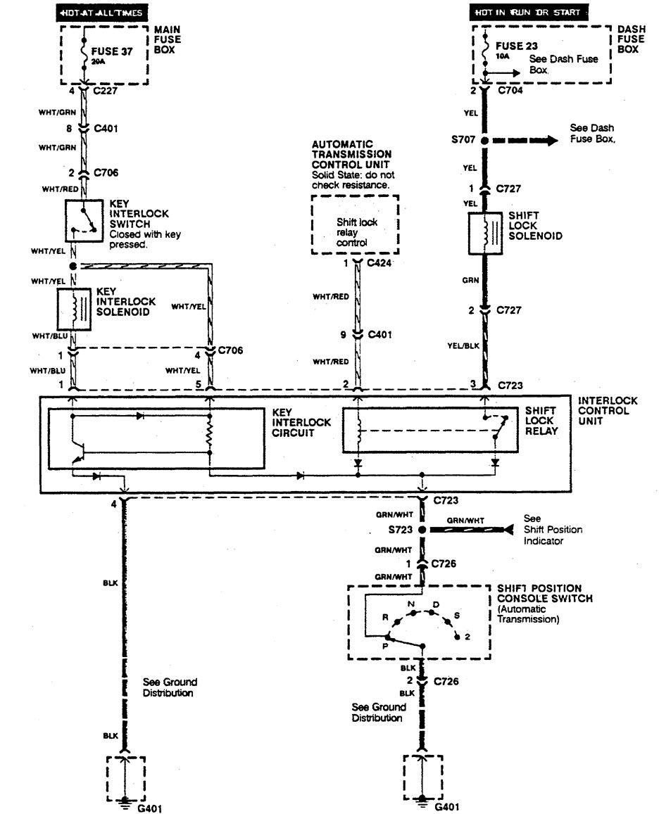 Acura Integra  1990  - Wiring Diagrams - Shift Interlock
