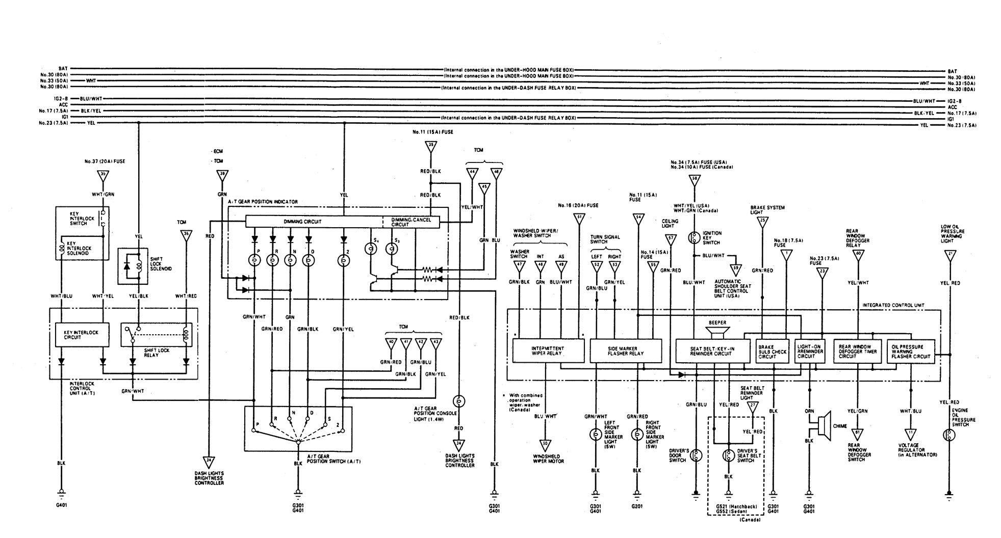 Acura Integra  1993  - Wiring Diagrams - Shift Interlock