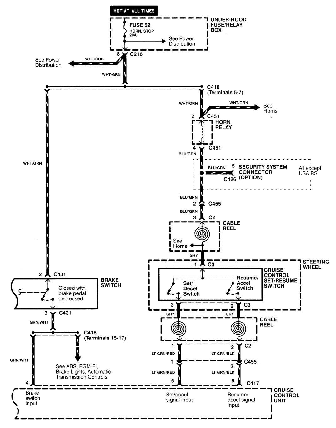 Acura Integra 1998 2001 Wiring Diagrams Speed Control 94 Cruise Diagram Part 2