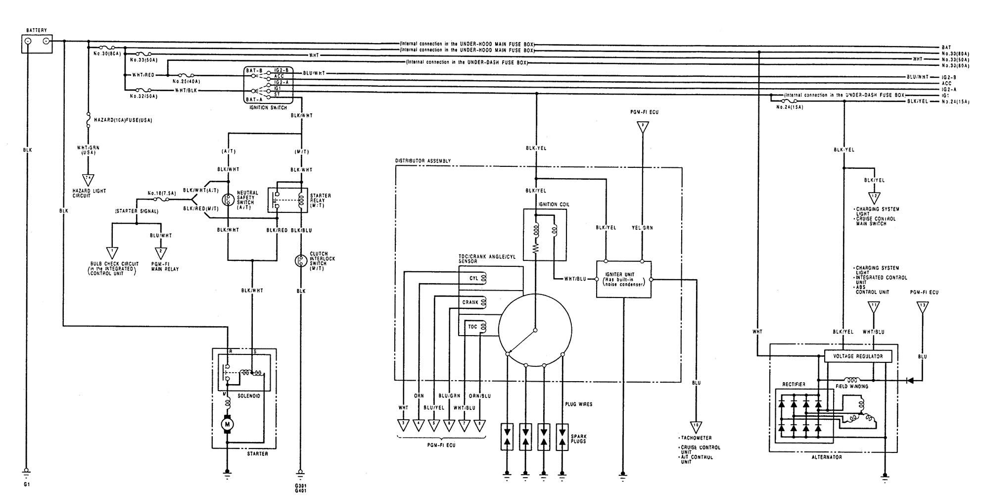 Acura Integra (1992 - 1993) - wiring diagrams - starting - Carknowledge.infoCarknowledge.info