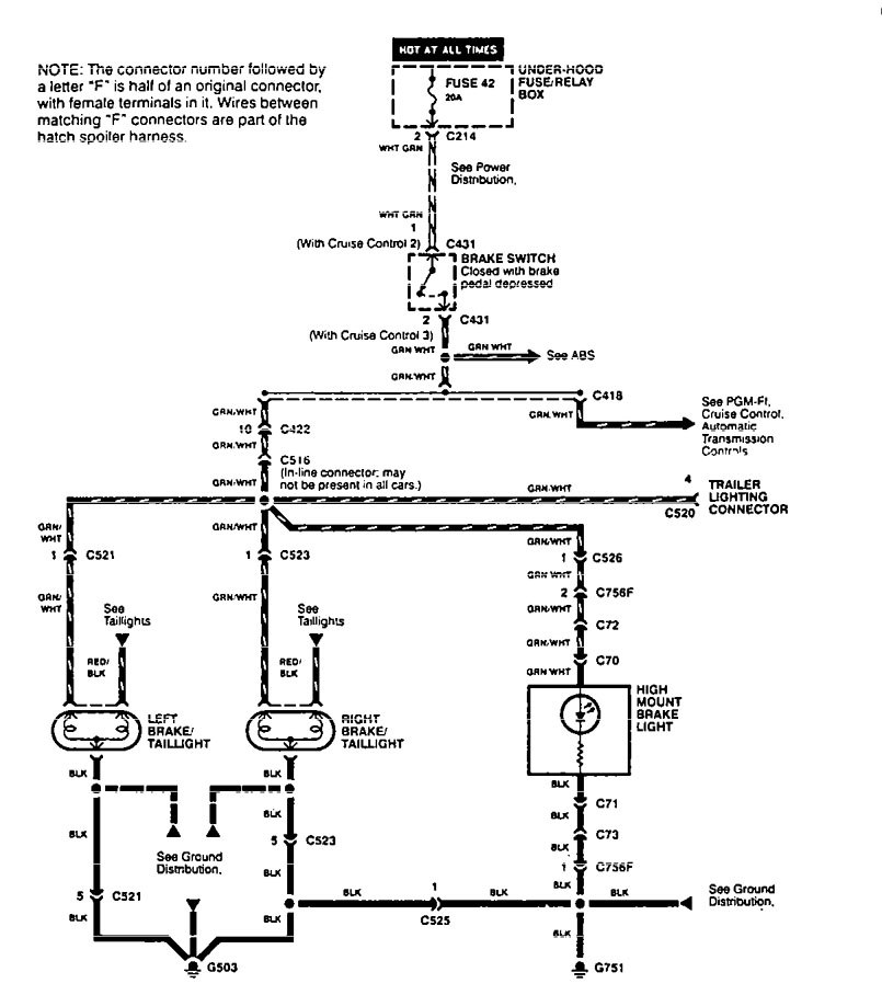 Acura Integra (1995 - 1997) - wiring diagrams - stop lamp -  Carknowledge.infoCarknowledge.info