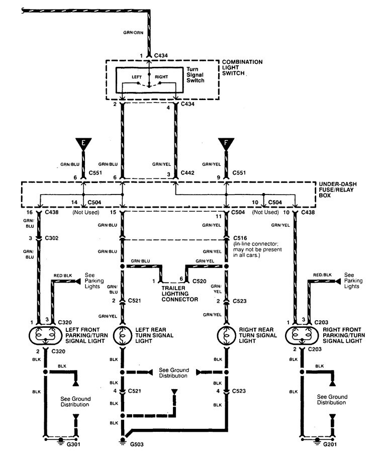 Acura Integra  1998 - 2001  - Wiring Diagrams - Turn Signal Lamp