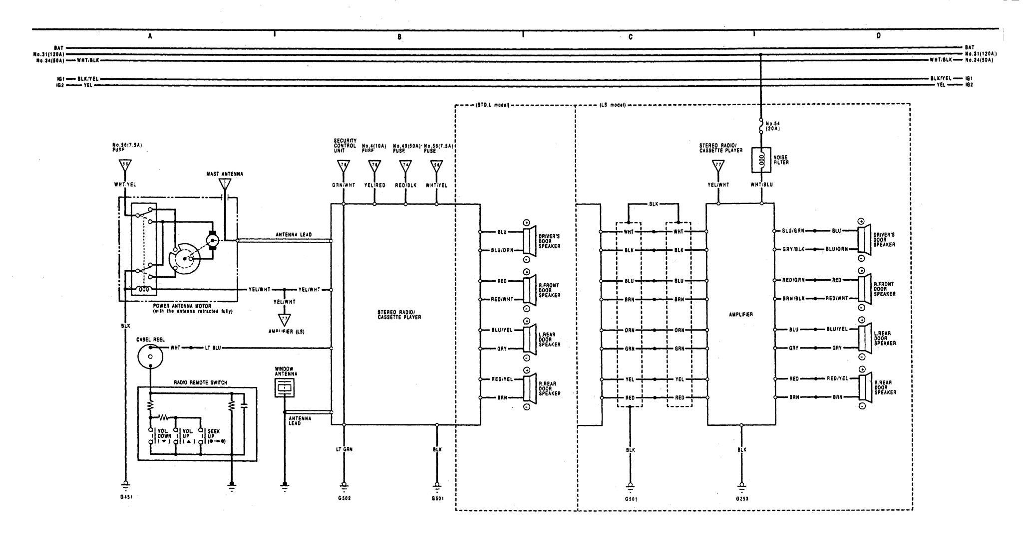 Acura Legend  1991  - Wiring Diagram - Audio