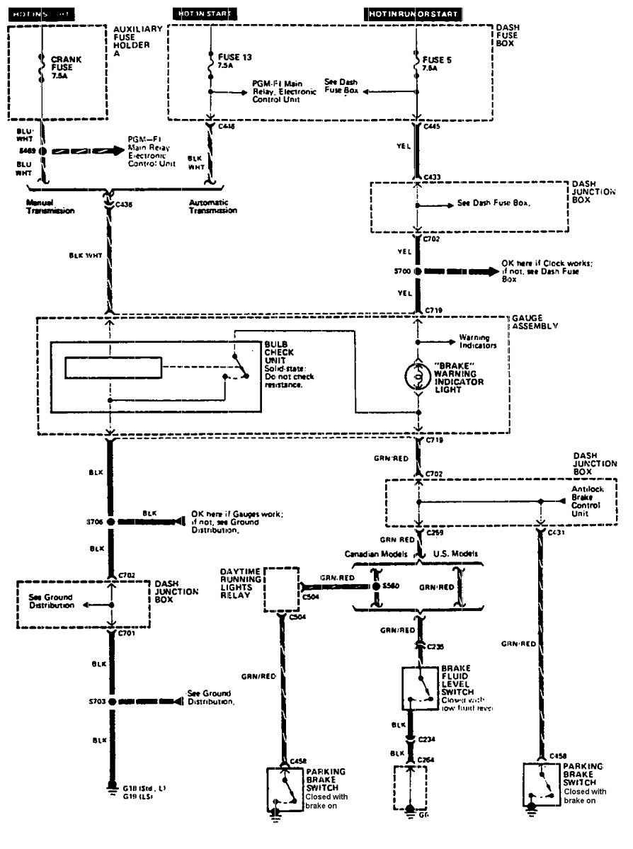 Acura Legend 1990 Wiring Diagram Brake Warning System