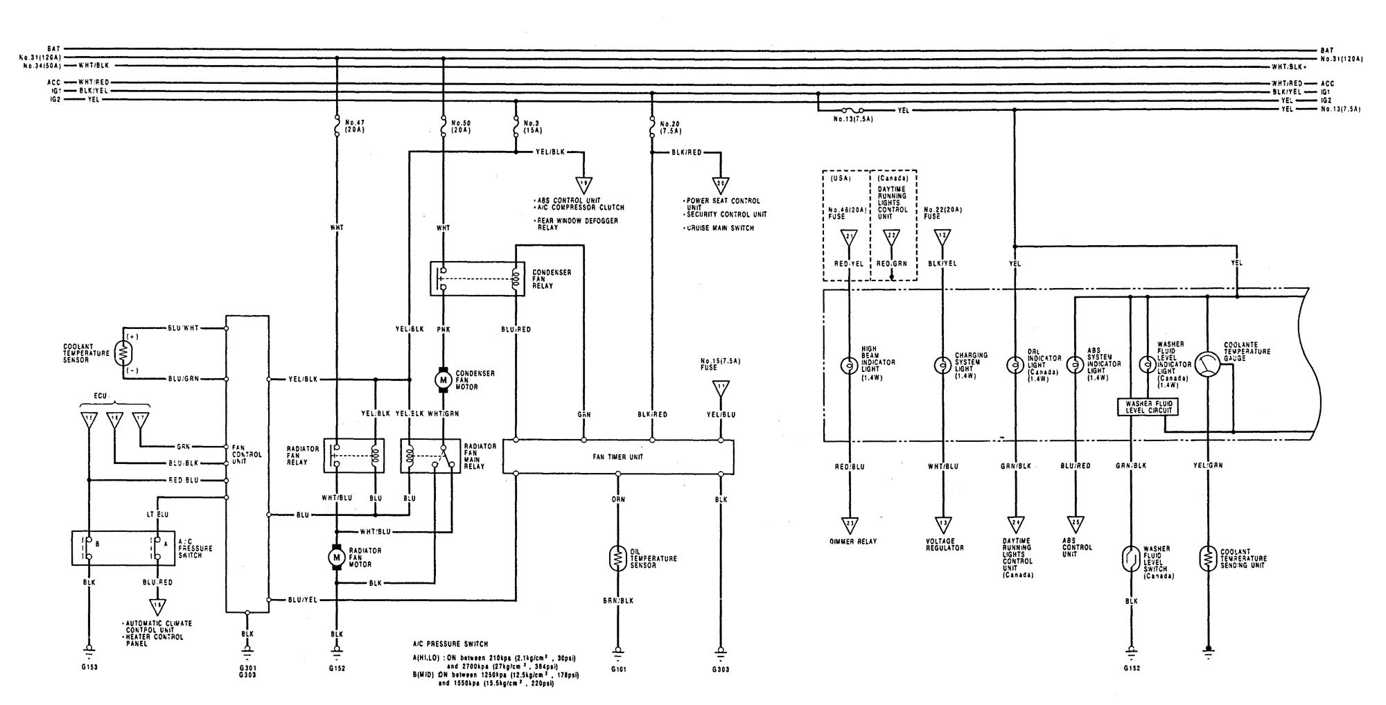 Acura Legend (1992) - wiring diagrams - cooling fans - Carknowledge.info | Acura Legend Fuel Pump Wiring Diagram |  | Carknowledge.info