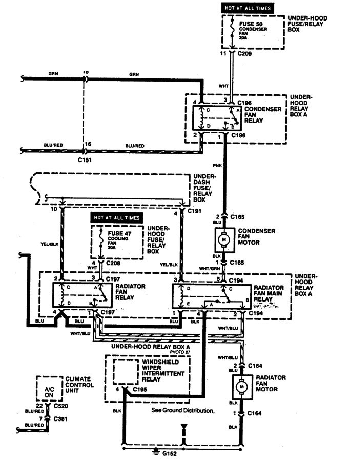Acura Legend  1994  - Wiring Diagrams - Cooling Fans