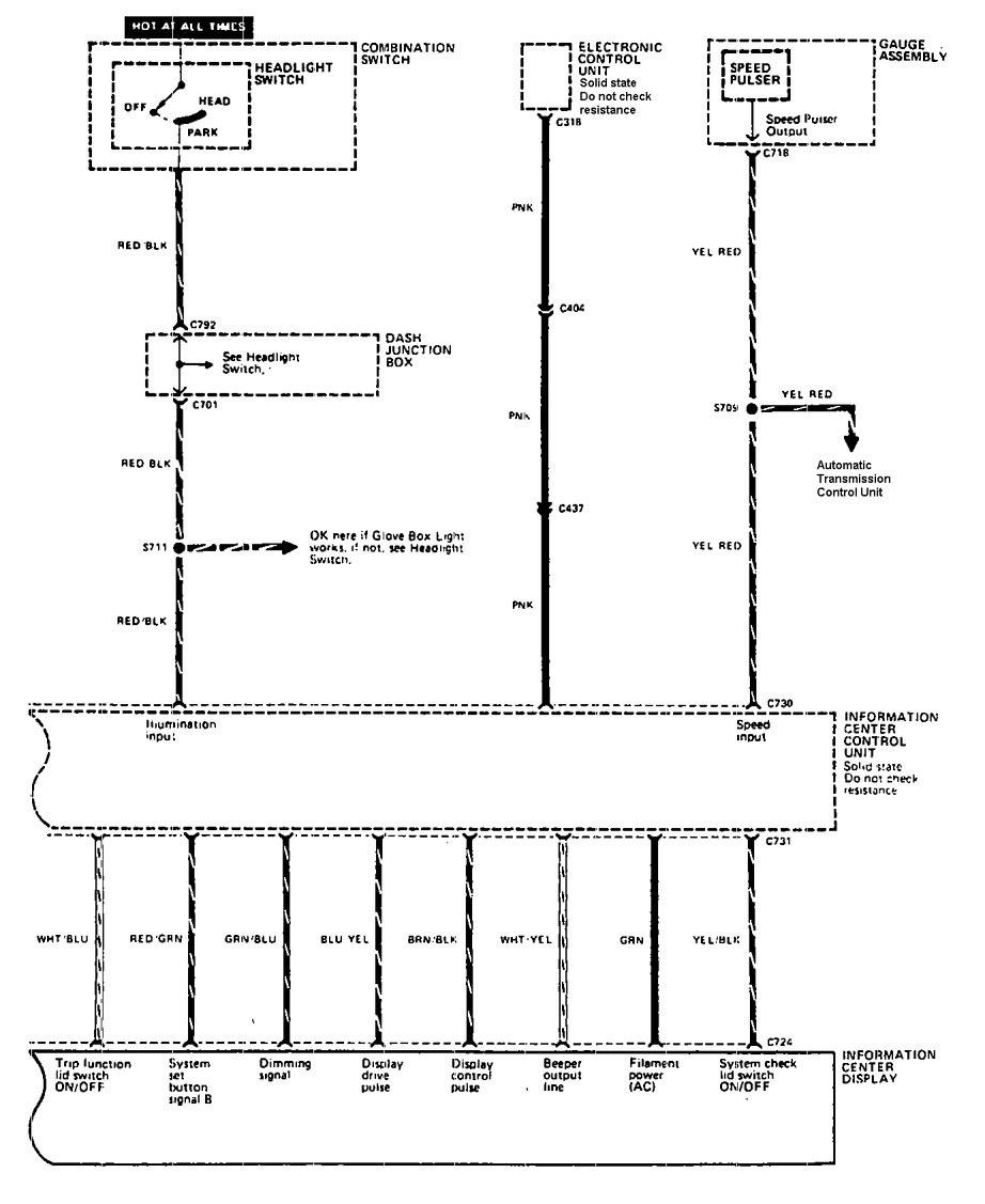 Acura Legend 1990 Wiring Diagram Driver Information Center Message Part 2