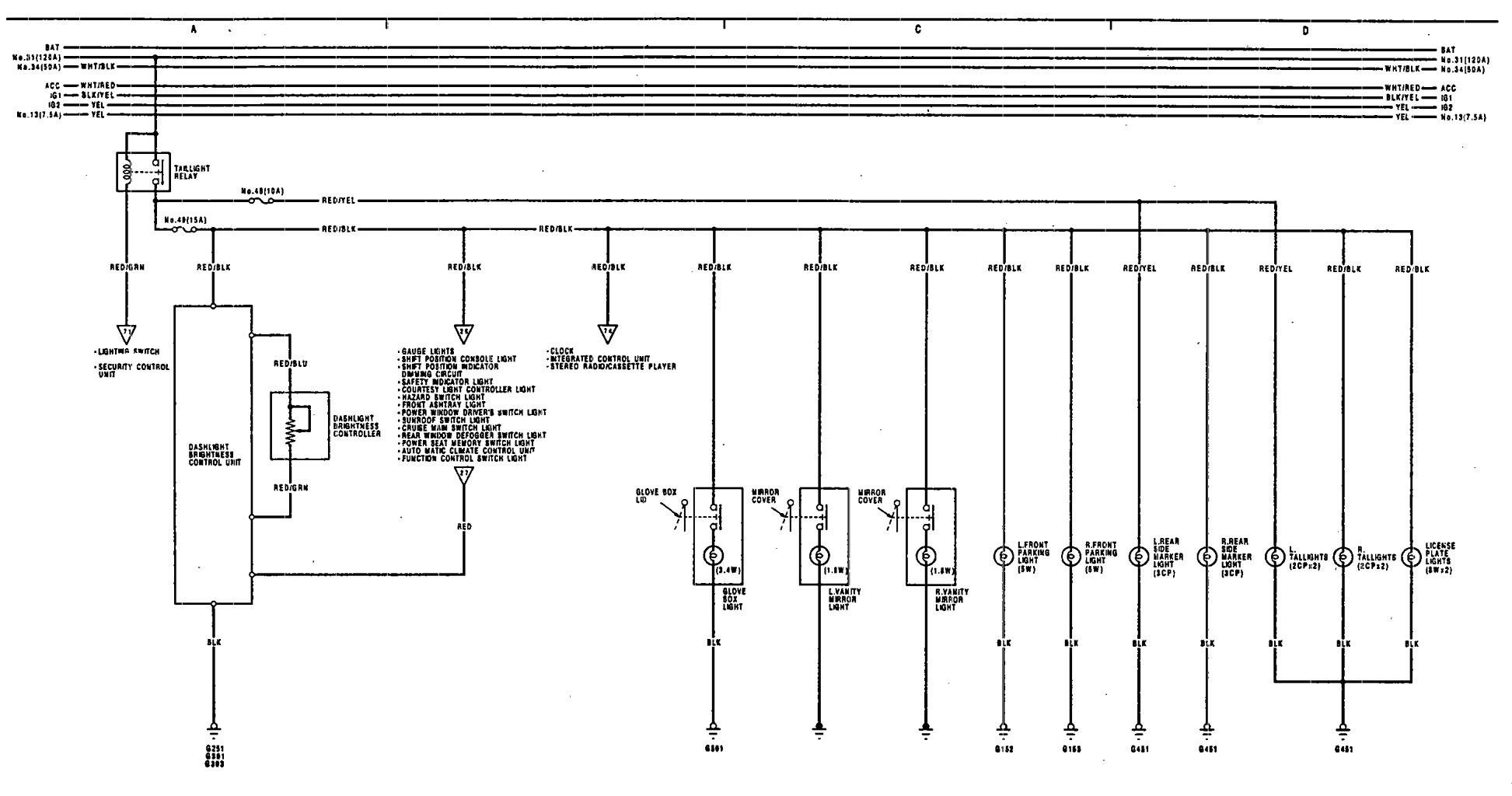 Acura Legend  1991 - 1992  - Wiring Diagram - Exterior Lamp