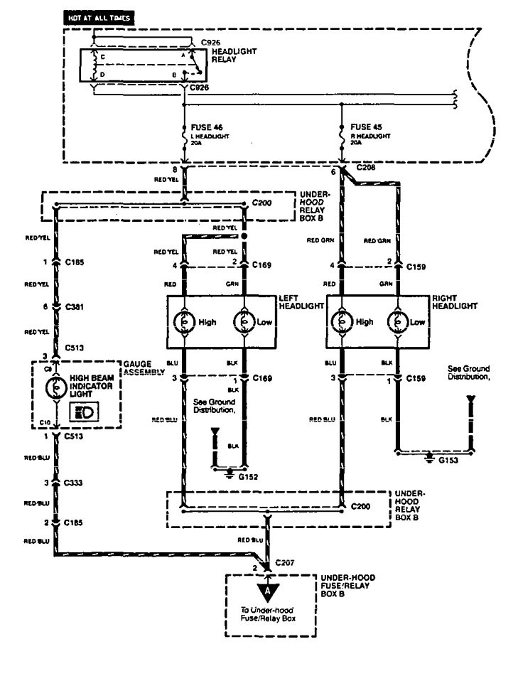 Acura Legend (1994 - 1995) - wiring diagram - headlamps ...