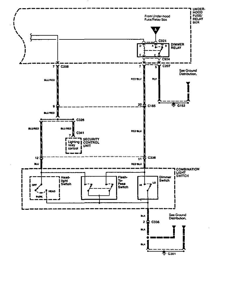 acura legend  1994 - 1995  - wiring diagram - headlamps