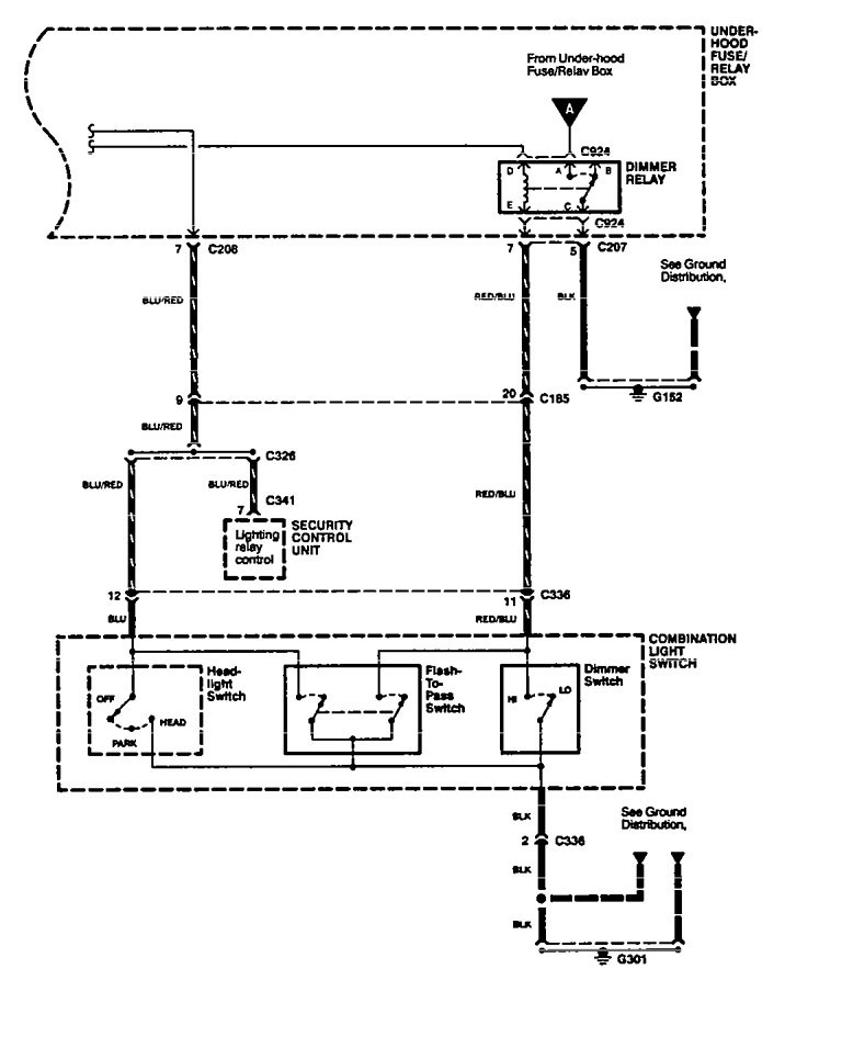 Acura Legend (1994 - 1995) - wiring diagram - headlamps ...