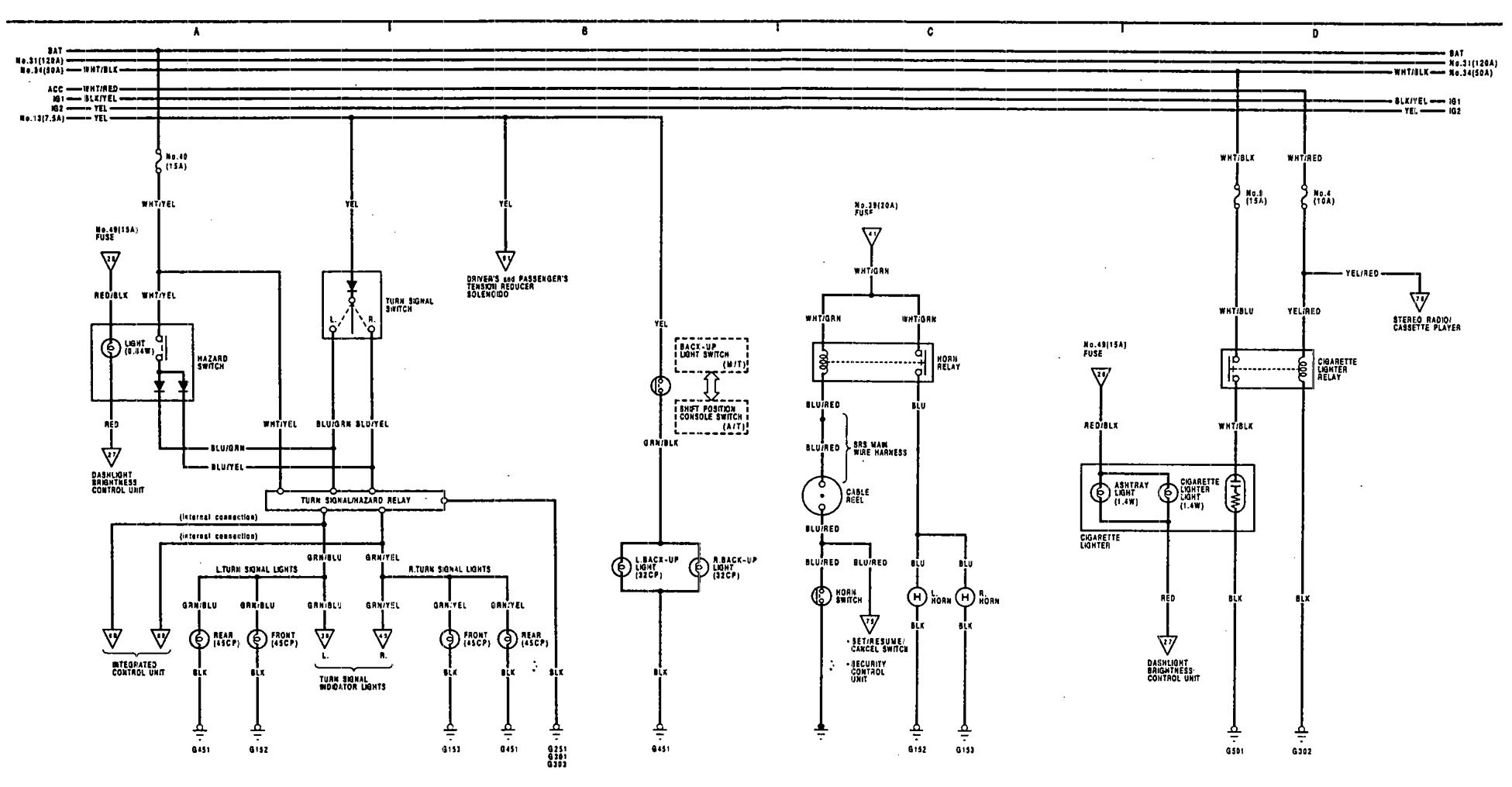 acura legend  1991  - wiring diagram - horn